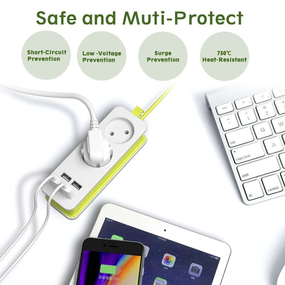 Multiple Socket Portable 4 USB Port Power Strip Plug Mobile Phone Chargers Mobile Phones & Accessories