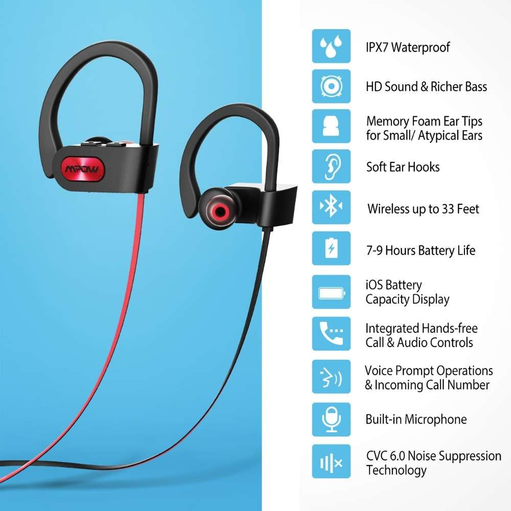 Waterproof Bluetooth Noise Cancelling Stereo Headphones with Mic Audio & Video Wireless Earphones & Headphones