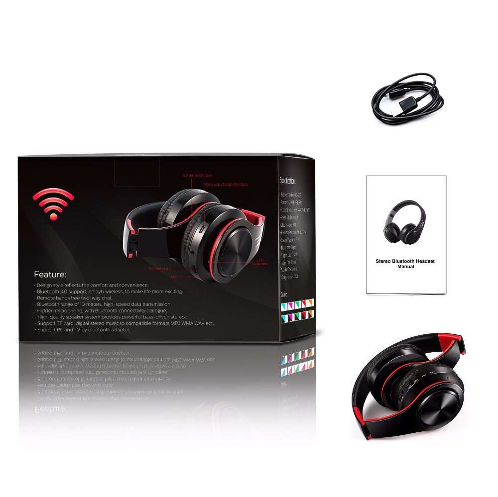 Foldable Adjustable Headphone Wireless Bluetooth With Mic Audio & Video Wireless Earphones & Headphones